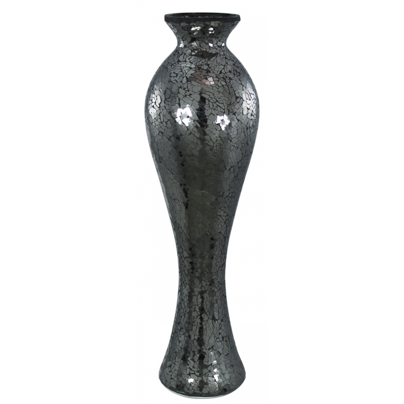 Black sparkle mosaic tall vase forever furnishings for Tall candle vases