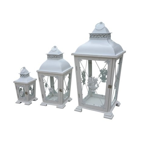 set of 3 antique white rustic lanterns forever furnishings fine home and garden furnishings. Black Bedroom Furniture Sets. Home Design Ideas