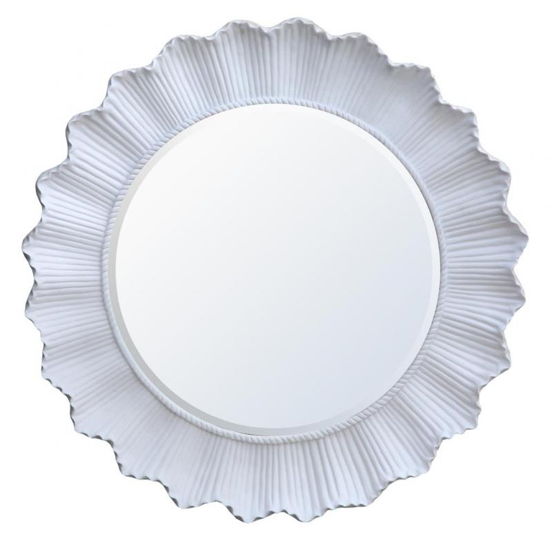 White Round Rib Edged Framed Mirror Forever Furnishings