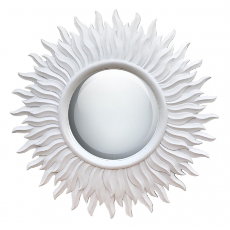 White round sunburst mirror forever furnishings fine for Large white round mirror