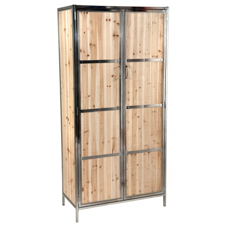 Rustic Industrial Style Wood Panel Armoire Wardrobe ...