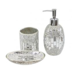 Silver shell tile mosaic waste bin forever furnishings for Mosaic bathroom bin