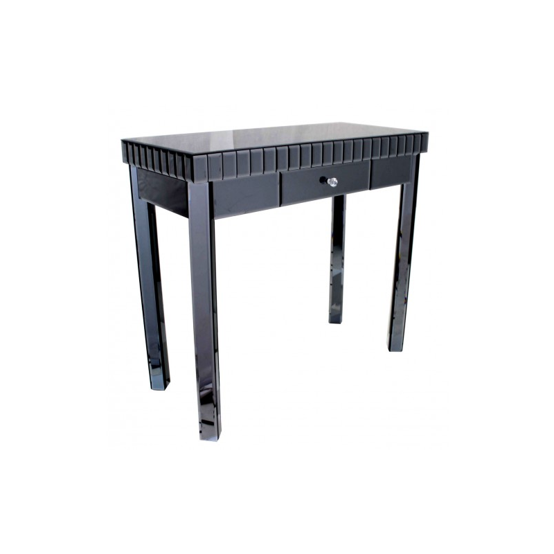 Smoke black mirror one drawer console table for Black and mirrored console table