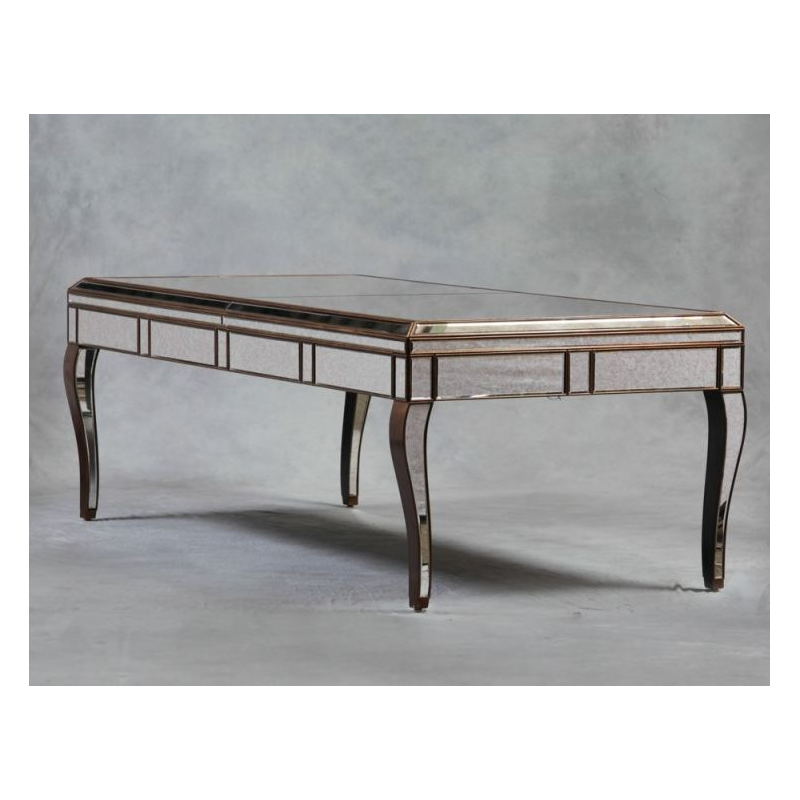 DINING FURNITURE Antiqued Glass Sorrento Gold Large Dining Table