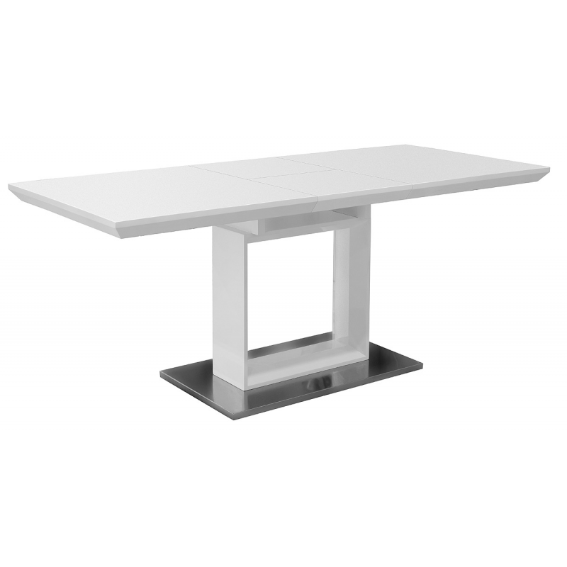 White high gloss extending dining table - White extending dining tables ...