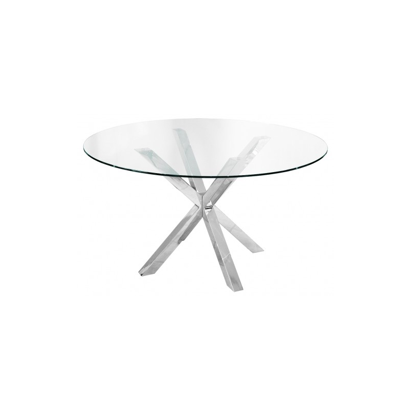 Crossly glass and chrome dining table for Glass and chrome dining table