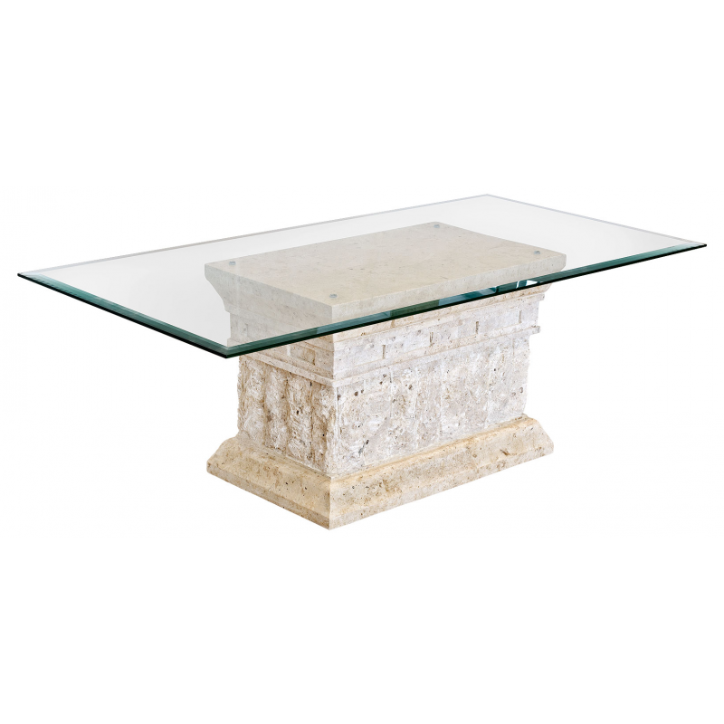 Mactan stone and glass marina coffee table Stone coffee table