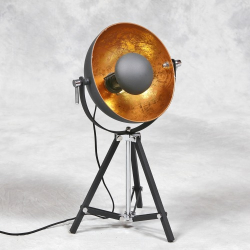 Black Tripod Spotlight Table Lamp With Gold Inner Shade