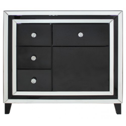 Manhattan Black And Clear Mirror 4 Drawer And 1 Door Cabinet