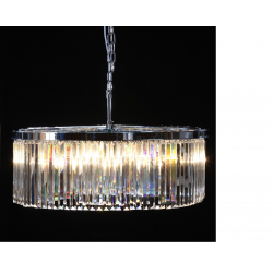 Extra Large Chrome Prism Drop Round Cascade Chandelier