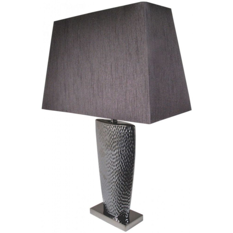 Pewter Bahama Large Table Lamp With 20 Inch Black Shade