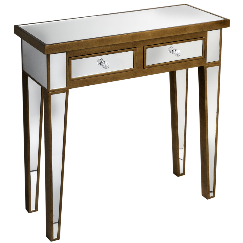 Venetian mirrored 2 drawer console table for Mirrored console with drawers