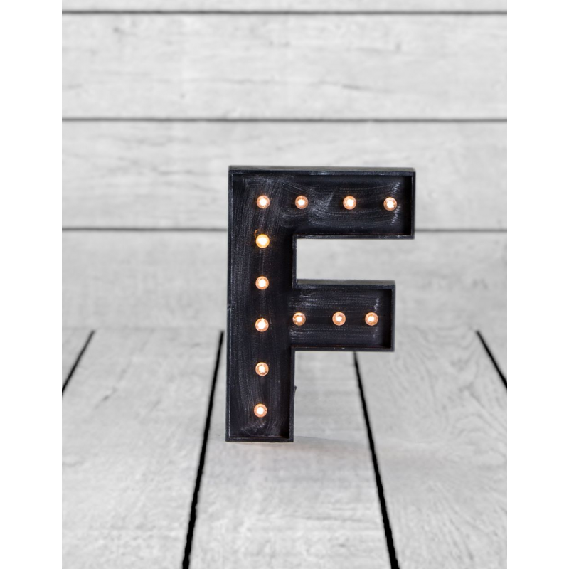 marquee antiqued black wooden f light letter With black marquee letters