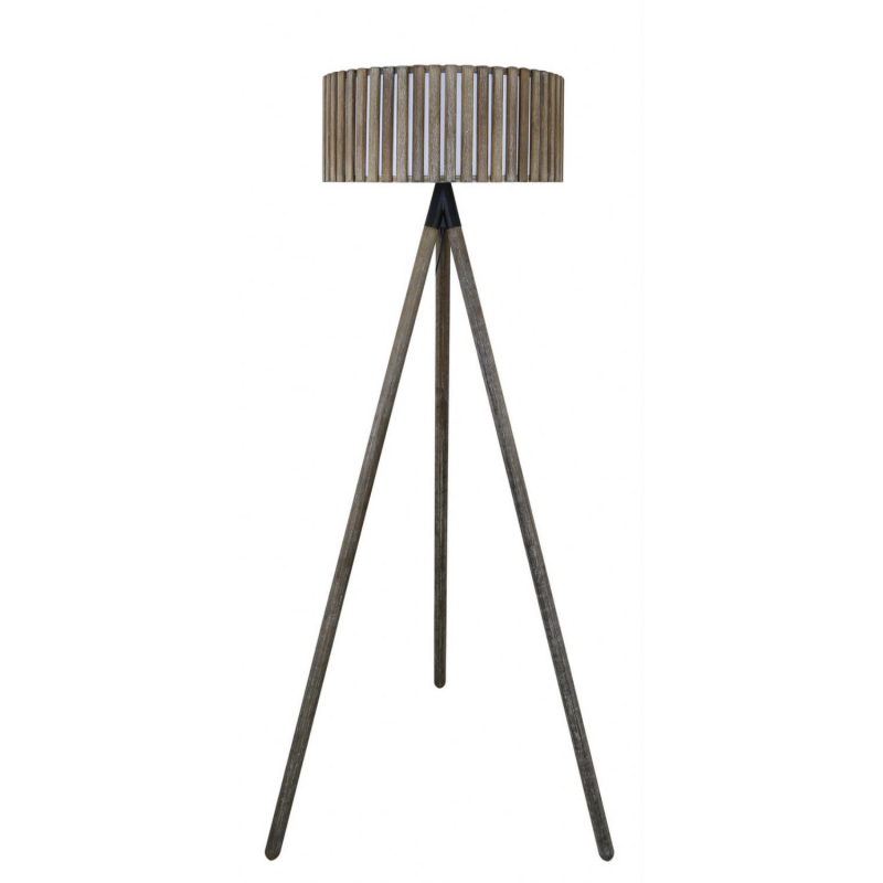 Grey hollywood floor lamp with round grey wooden paneled for Wooden floor lamp grey shade