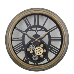 Brown Gears Style Skeleton Wall Clock