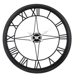 Large Black & White Compass Style Skeleton Wall Clock