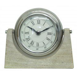 Mango Wood and Nickel Round Table Clock