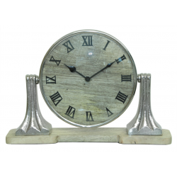 Mango Wood Round Table Clock on Nickel Stand
