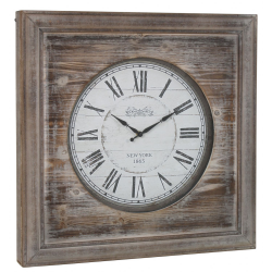 Antique Grey Fir Wood Square Wall Clock
