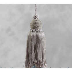 """Diamond"" Ball Key Tassel - Silver"