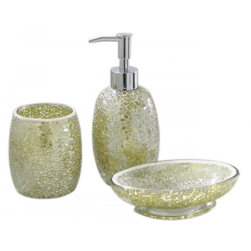 Pistachio sparkle mosaic bathroom set forever for Mosaic bathroom bin
