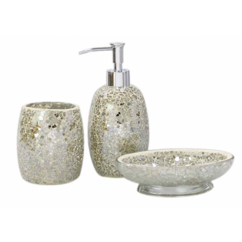 Mercury sparkle mosaic bathroom set forever furnishings for Mosaic bathroom set