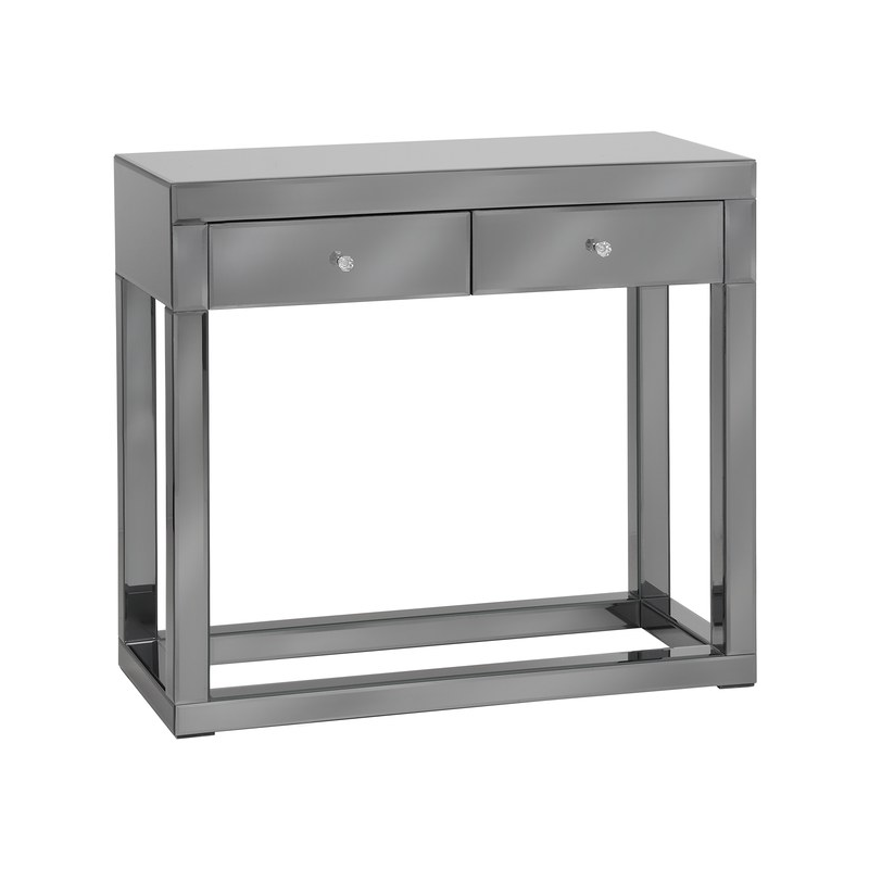 Luxor smoked glass mirror console table forever furnishings fine home and garden furnishings Mirror glass furniture