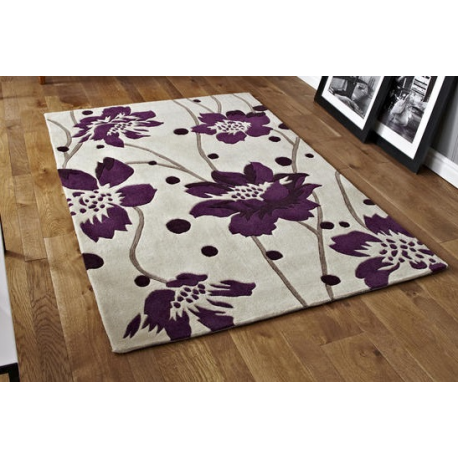 Cream And Purple Floral Stem Rug Forever Furnishings