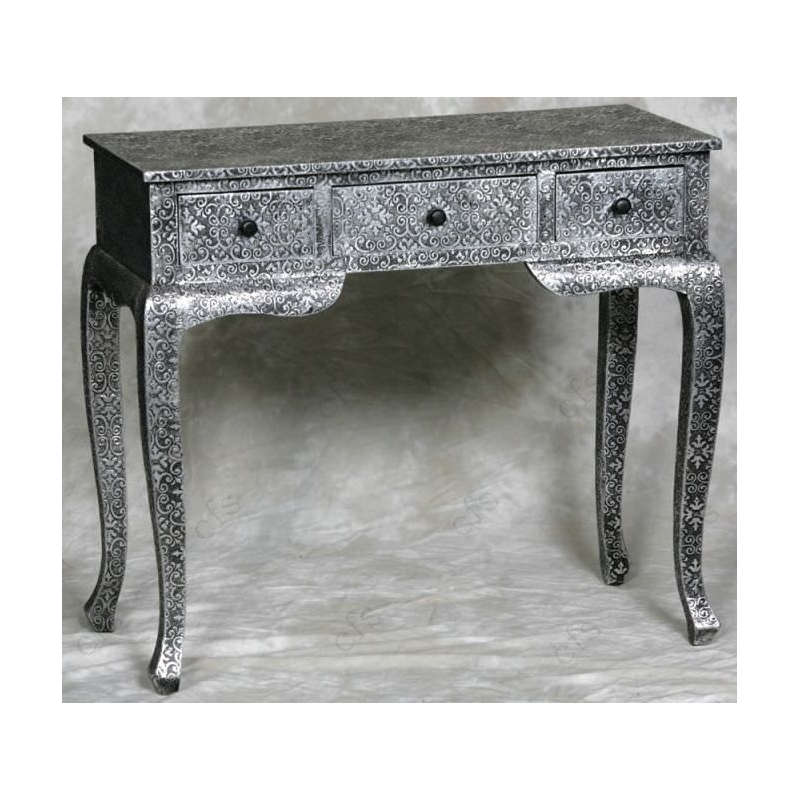 Black metal embossed dressing table forever furnishings