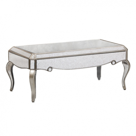 COFFEE TABLES Antiqued Glass Silver Edge Venetian Style Coffee Table