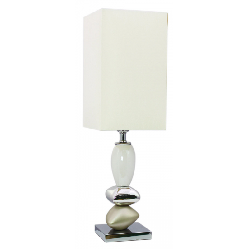 lighting lamps champagne and white small pebble table lamp. Black Bedroom Furniture Sets. Home Design Ideas