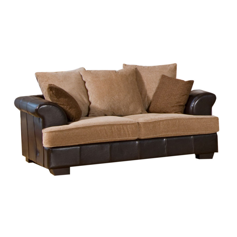 Desert Fabric And Leather Brown Beige Sofa Suite