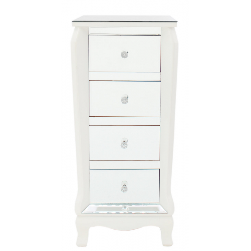mirror and white trim narrow chest of drawers forever