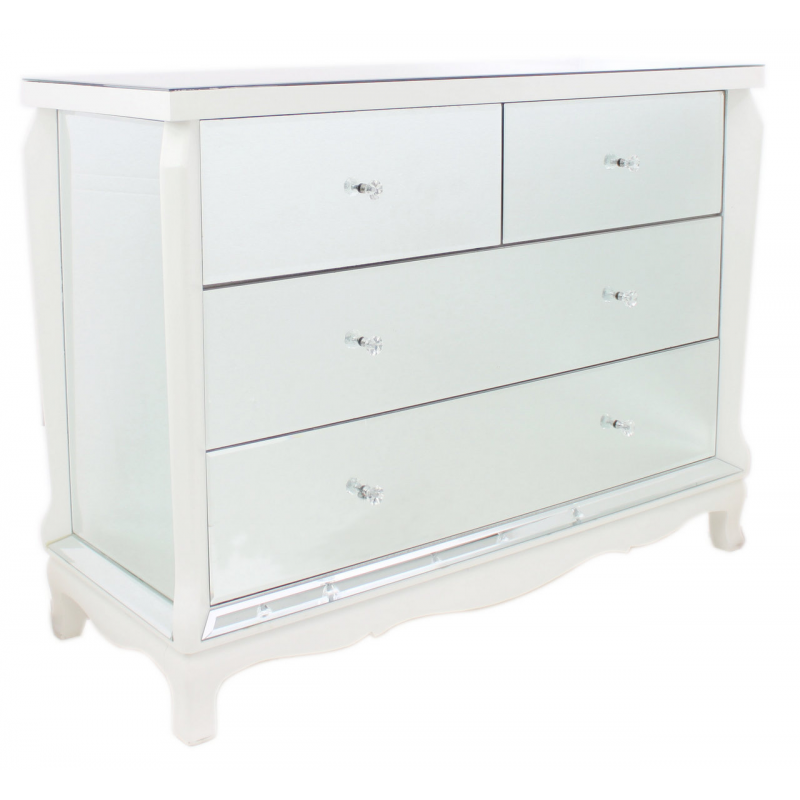 mirror and white trim chest of drawers forever