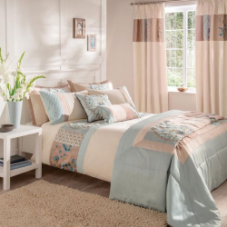 Catherine Lansfield Border Patchwork Bedding Set - Duck Egg Blue