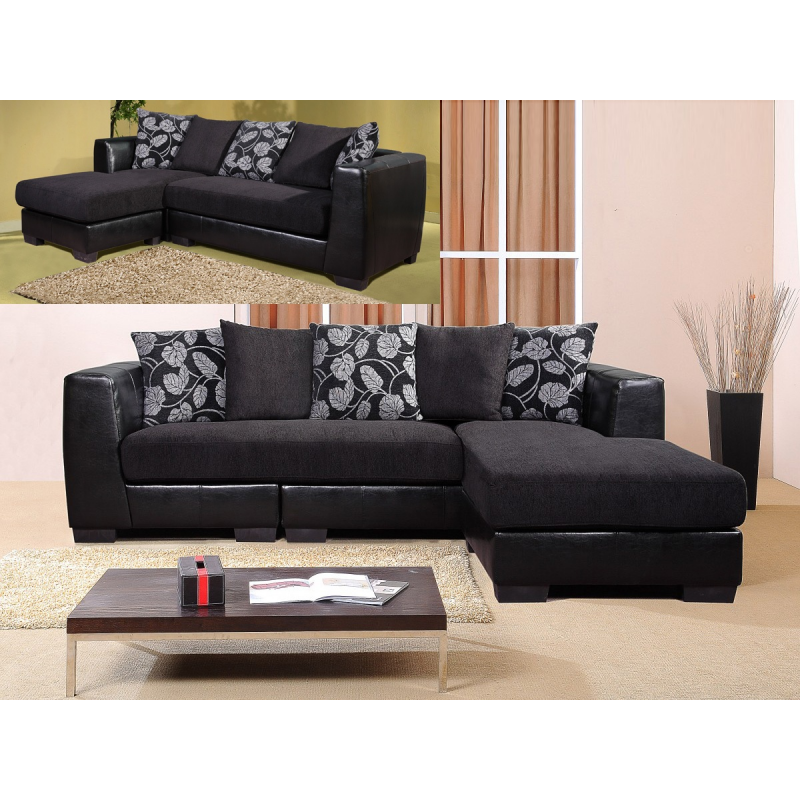 Rovigo black fabric corner sofa forever furnishings for Black fabric couches