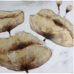 Gold Poppies and Silver Canvas Picture