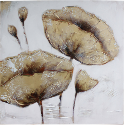 Twin Gold Poppies on Silver Canvas.