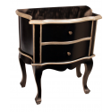 Black Wooden Two Drawer Side Table With Silver Champagne Trim