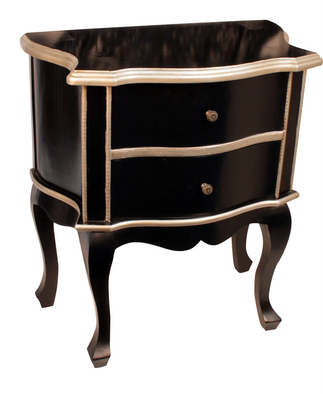 Black side table with drawer - Black Wooden Two Drawer Side Table With Silver Champagne Trim Forever Furnishings