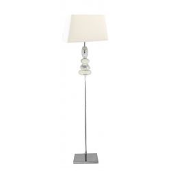 White and Chrome Pebble Floor Lamp With Square Shade