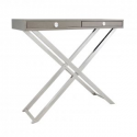 Grey Faux Leather Console Table