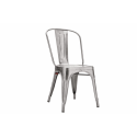 Galvanised Silver Metal Stacking Chair