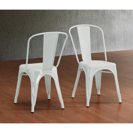 White Metal Stacking Chair