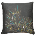 Gunmetal Sequin Peacock Feathers Cushion