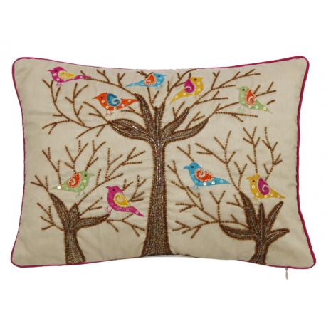 Sequin Bird Tree Cushion
