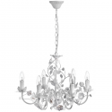 Cream Six Lamp Leaf Chandelier