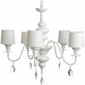 Five Lamp Chandelier with Shades and Crystals