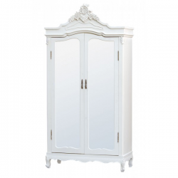 Pure White Armoire (Wardrobe) with Full Mirror Doors