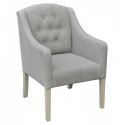 Grey Linen Wooden Chair